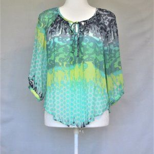 Blue, yellow & turquoise blouse